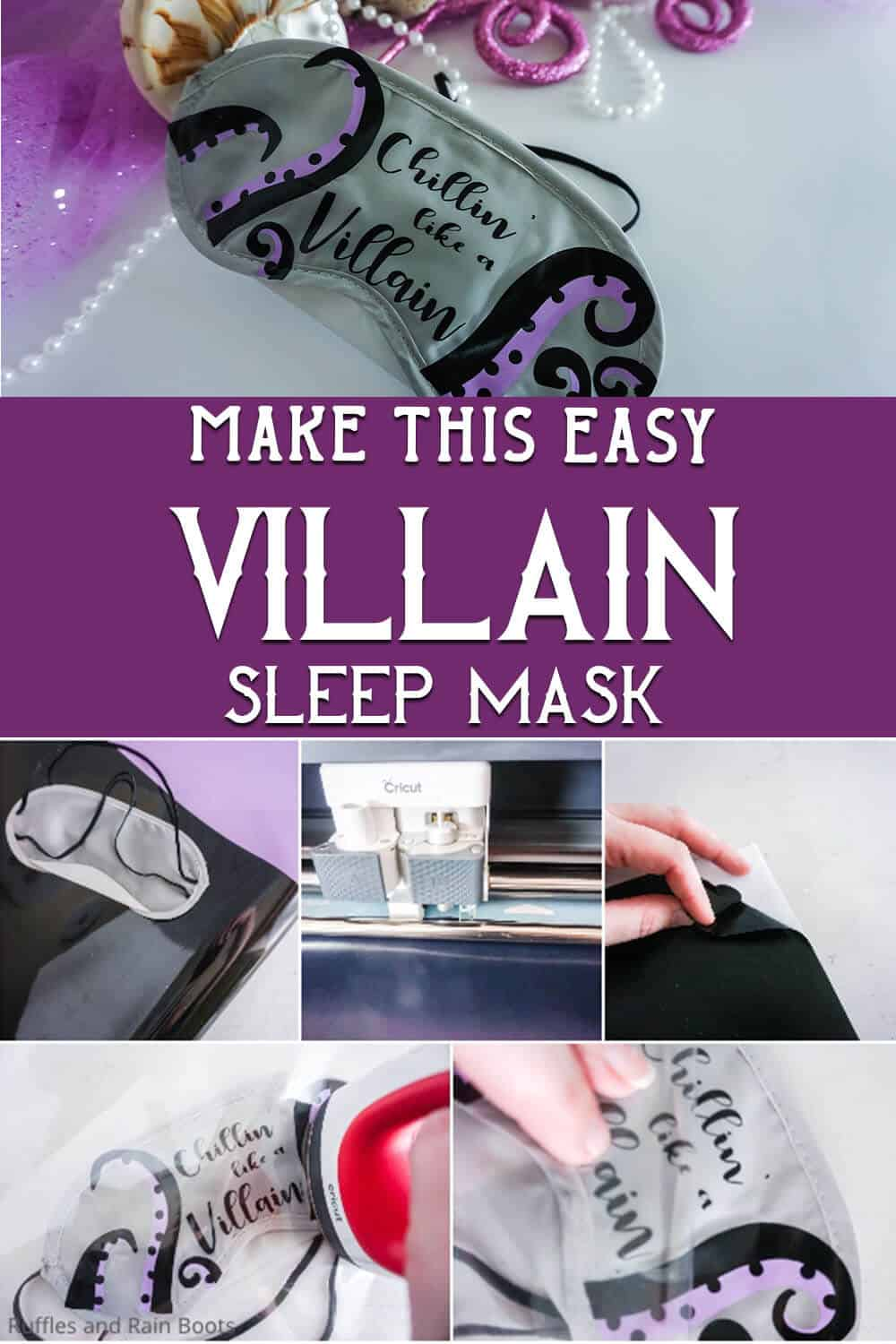 photo collage of easy disney cruise fish extender craft idea with text which reads make this easy villain sleep mask