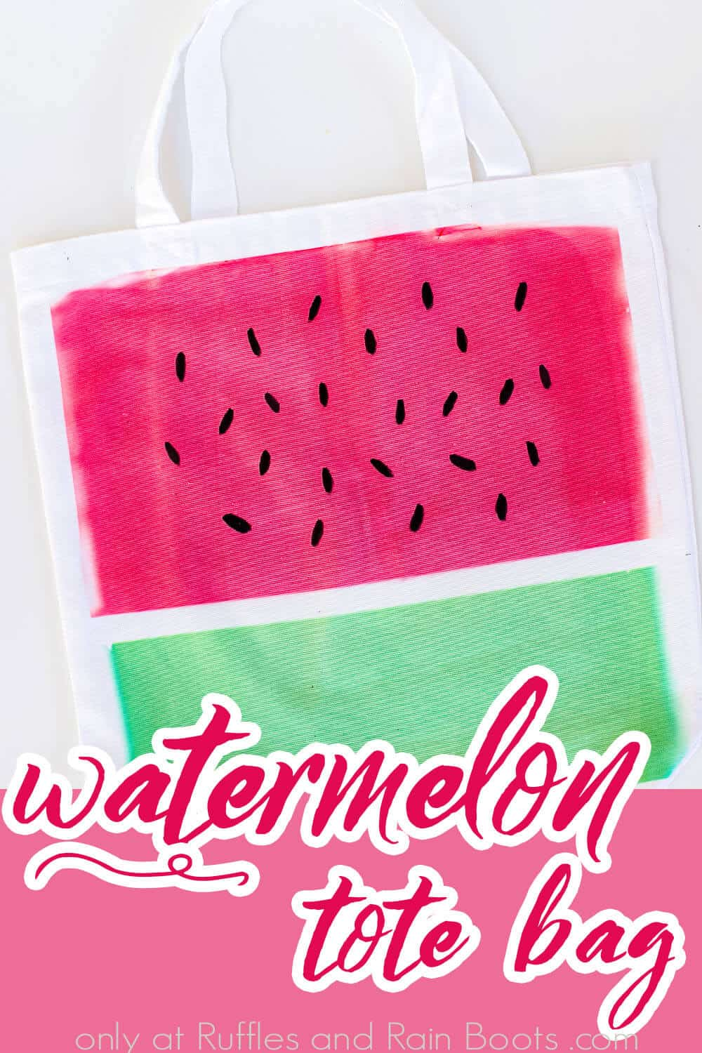closeup of watermelon canvas bag made with cricut infusible ink with text which reads watermelon tote bag