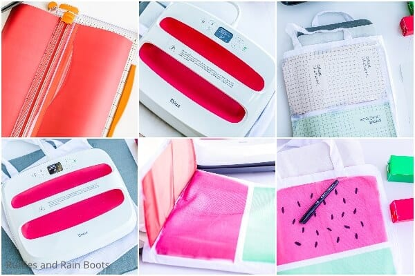 photo collage of how to make a watermelon canvas bag with infusible ink sheets