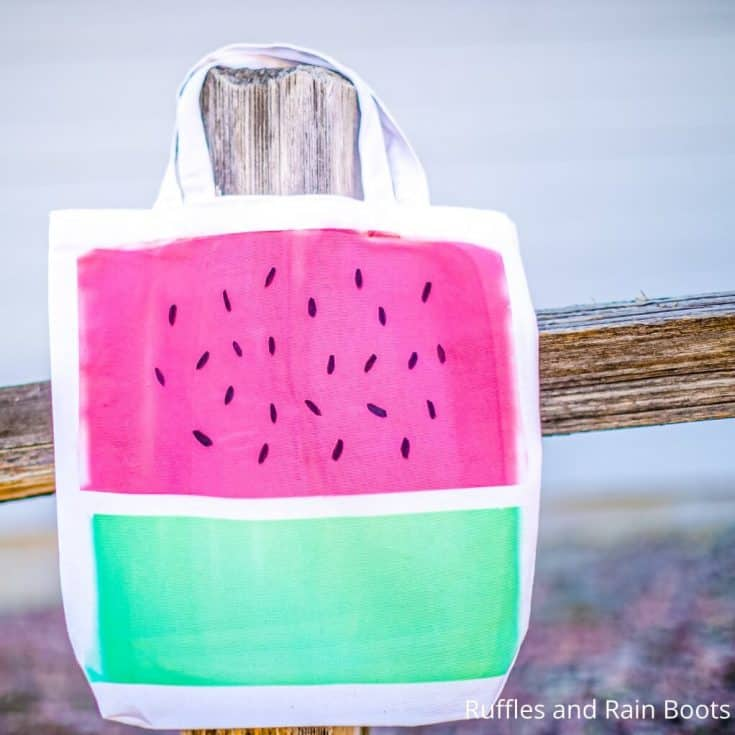 cricut infusible ink sheet craft idea watermelon tote