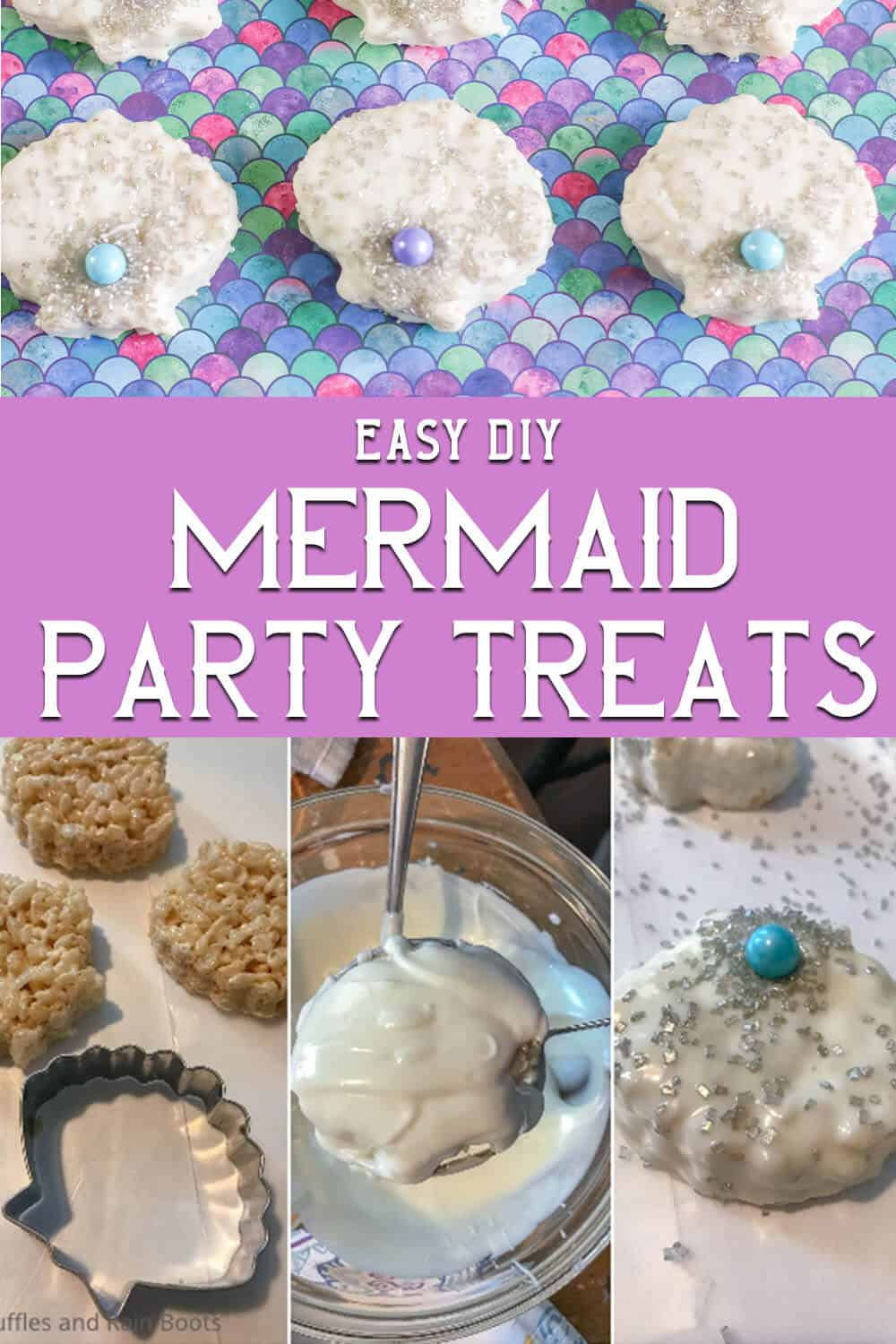 photo collage of easy mermaid rice krispies treats recipe with text which reads easy diy mermaid party treats