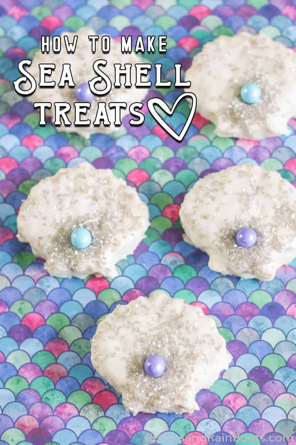 overhead view of easy kid-made rice krispies treats sea shells for a mermaid party