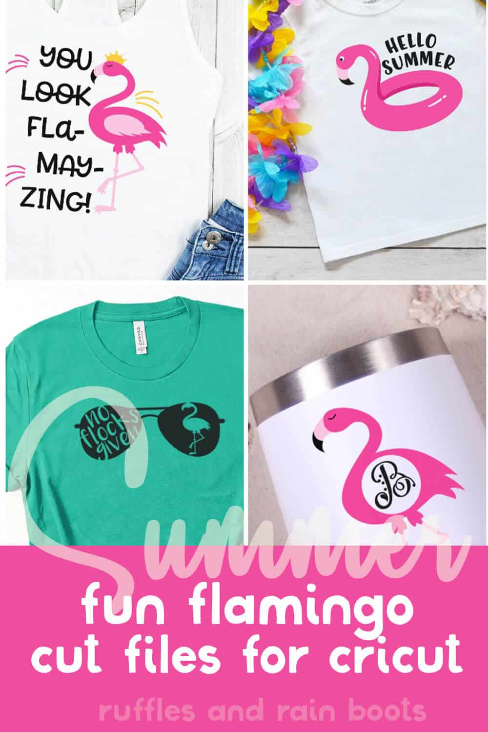 photo collage of fun flamingo clip art files with text which reads summer fun flamingo cut files for cricut