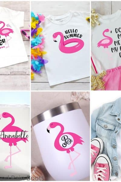 photo collage of flamingo svg file set for cricut or silhouette