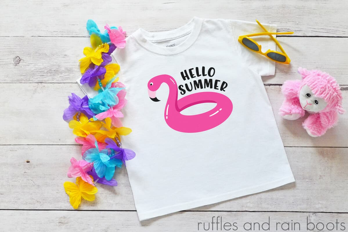 hello summer flamingo pool float svg for cricut silhouette clipartjpg