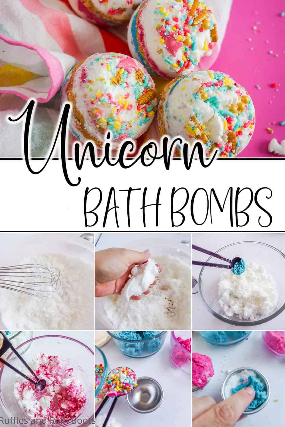 photo collage of easy diy lush bath bombs with text which reads unicorn bath bombs