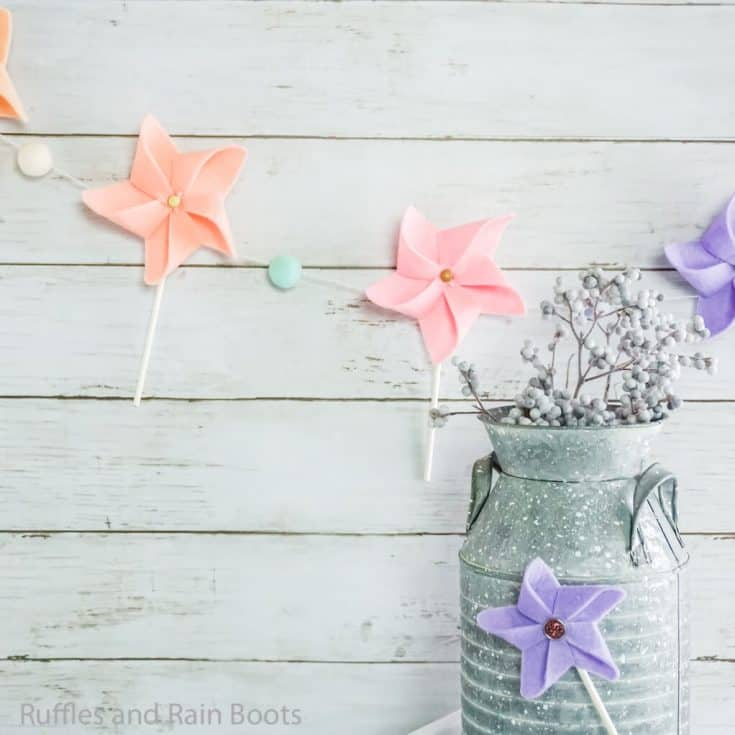 make this easy pinwheel banner or pinwheel magnet in minutes