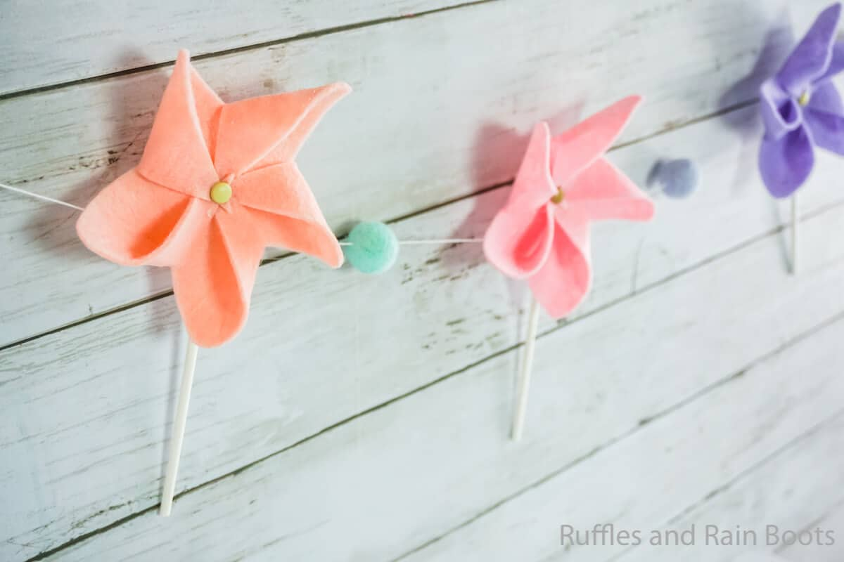 kid-made pinwheel garland or pinwheel magnet craft for kids