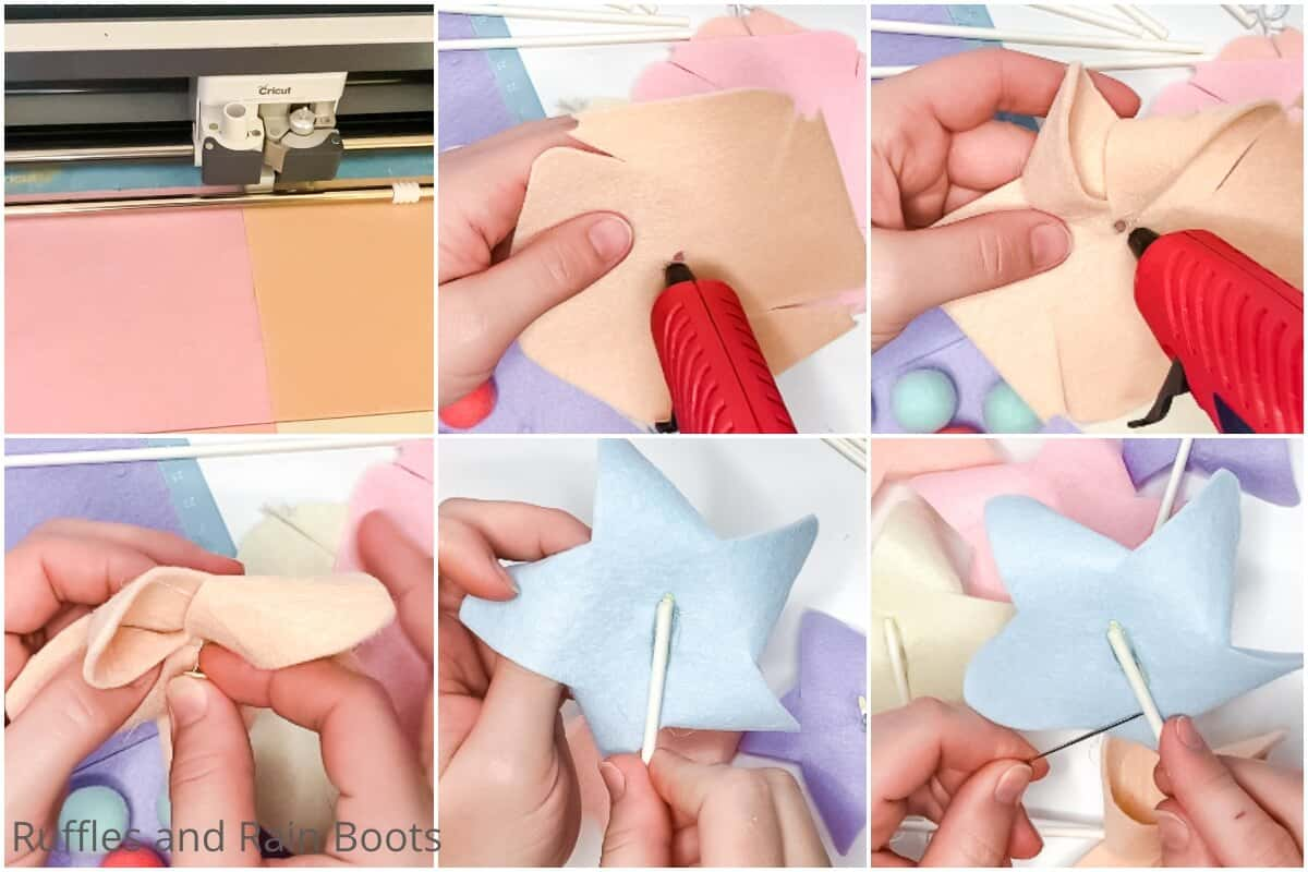 photo collage tutorial of how to make a pinwheel banner