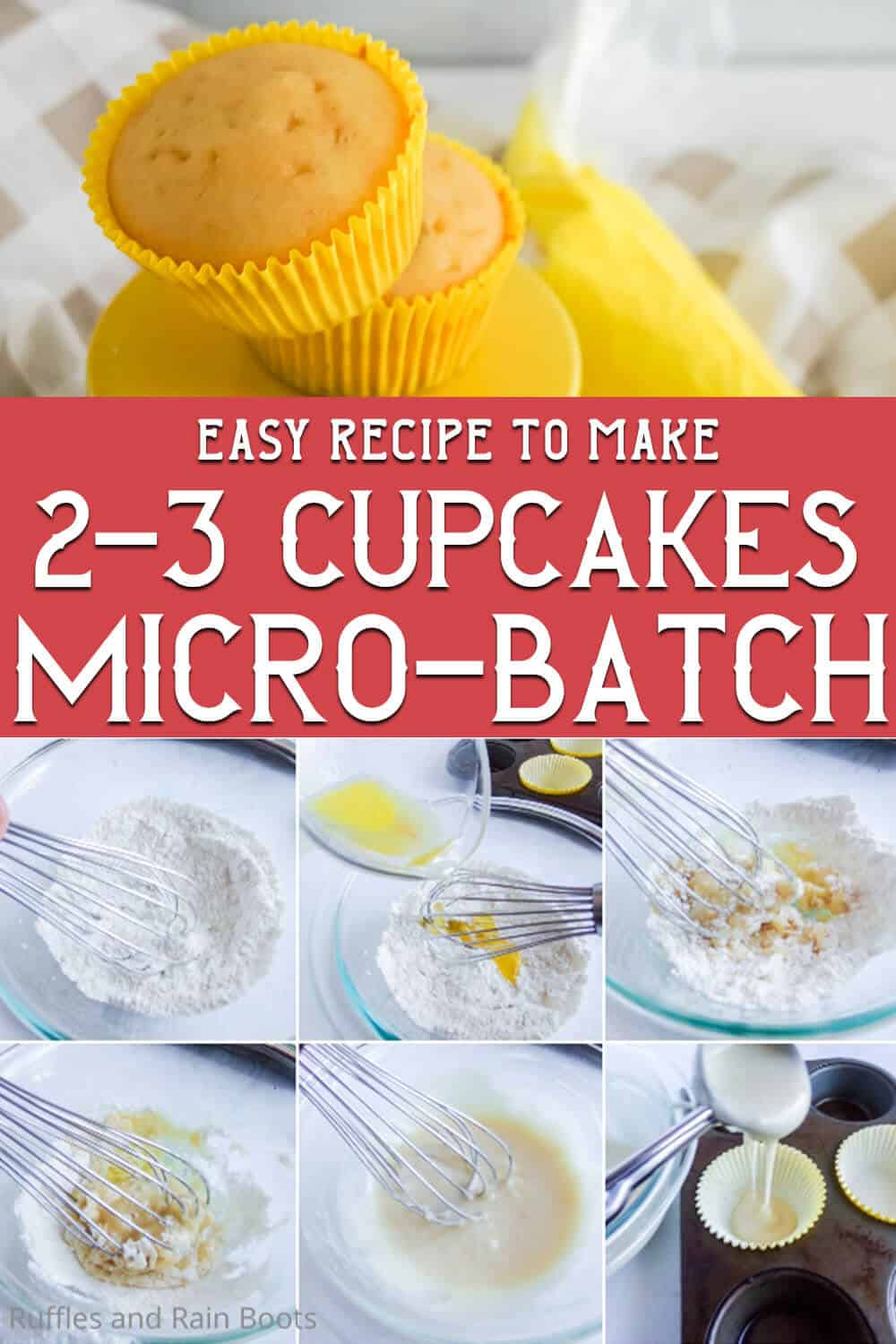photo collage of easy cupcakes for two with text which reads easy recipe to make 2-3 cupcakes micro-batch
