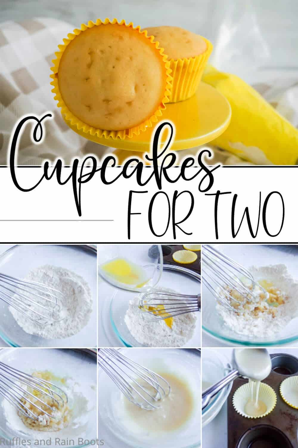 photo collage of easy micro-batch cupcake recipe with text which reads cupcakes for two