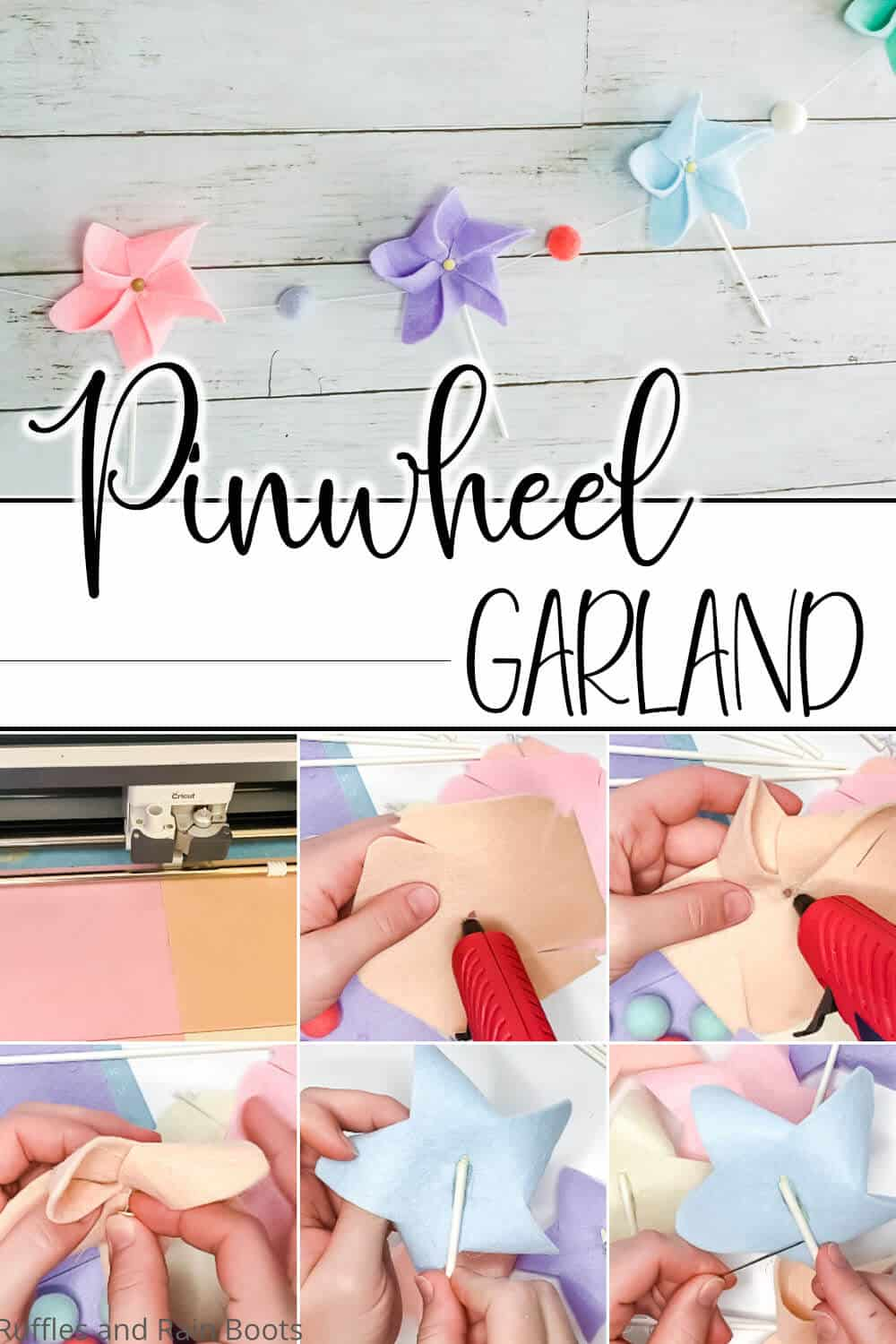 photo collage of easy DIY pinwheel craft for kids with text which reads pinwheel garland