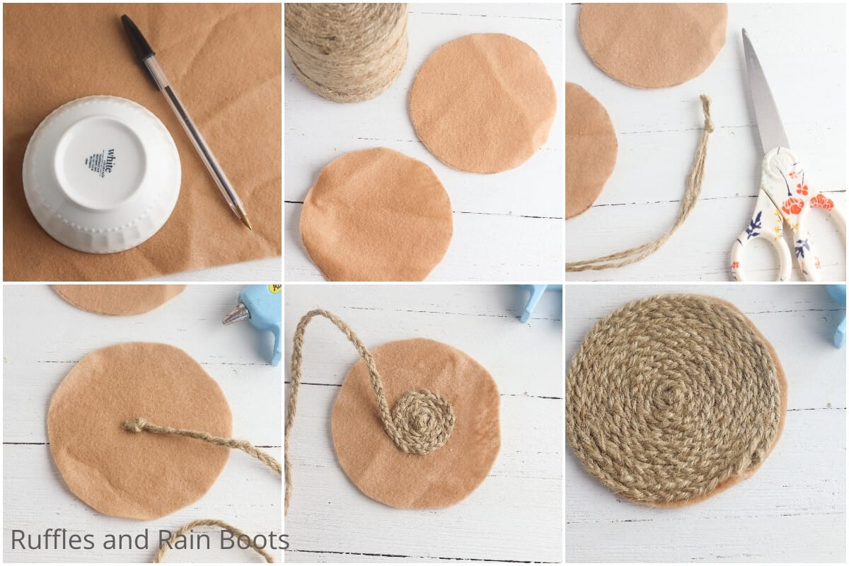 photo collage of how to make braided twine coasters for farmhouse decor