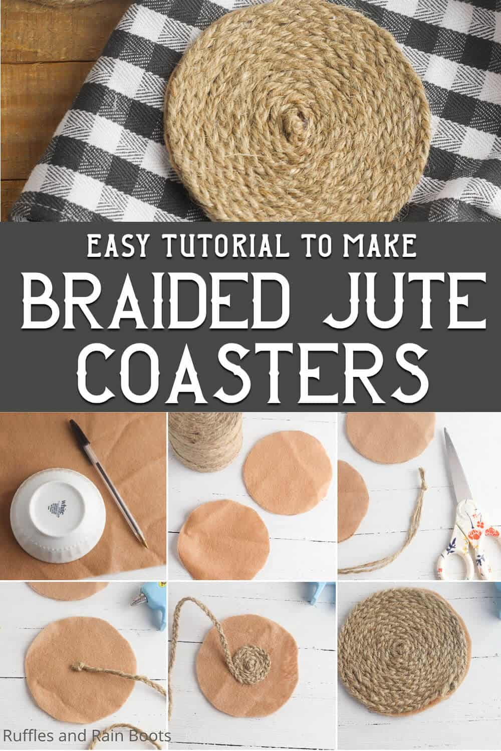 photo collage of easy farmhouse craft idea of twine coasters with text which reads easy tutorial to make braided jute coasters