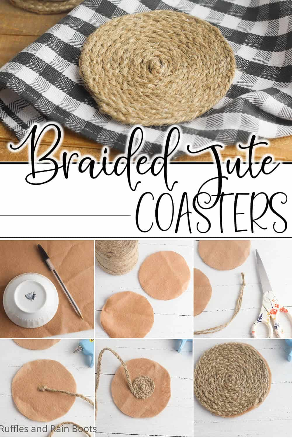 easy handmade gift idea of rolled jute coasters with text which reads braided jute coasters
