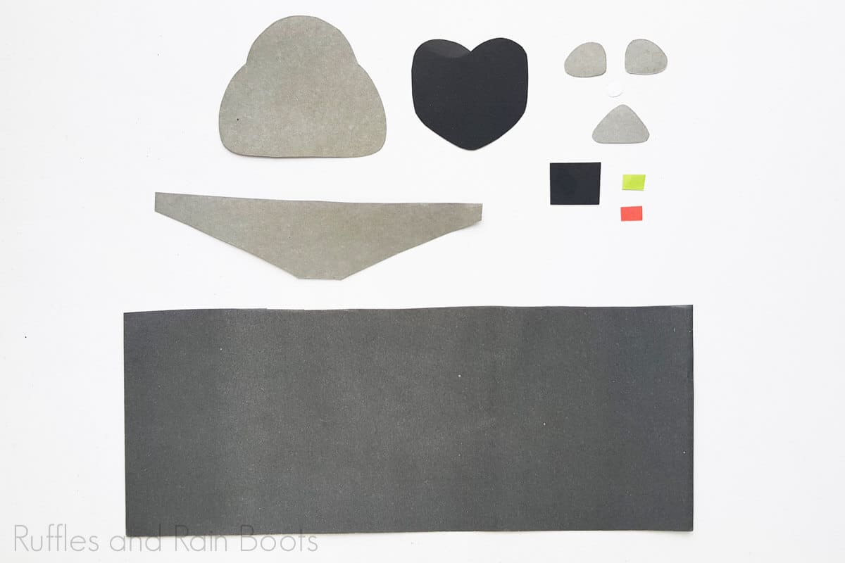 Process Image of all the cut out parts of Darth Vader Craft