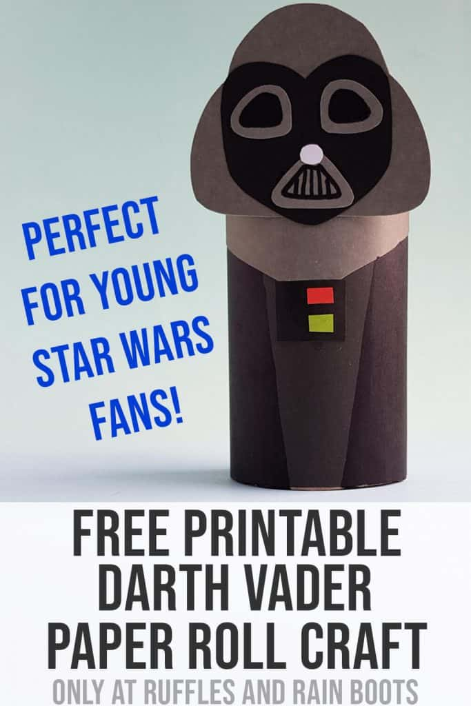 Pin Image of Darth Vader Paper Doll with text that says free printable darth vader paper roll craft.