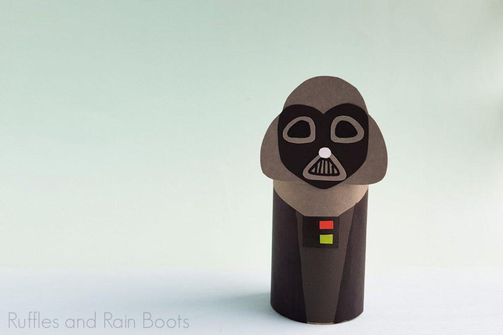 Horizontal Image of Darth Vader Paper Doll completed on a light green and white background