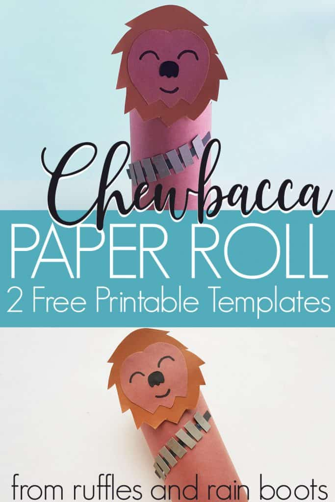 Pin Image of Chewbacca Paper Craft on two images with blue text box in the middle that says chewbacca paper roll 2 free printable templates.