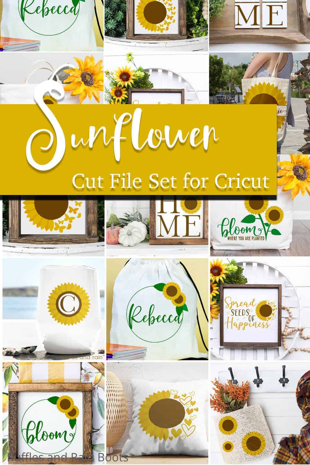 photo collage of pretty sunflower summer crafts with text which reads sunflower cut file set for cricut