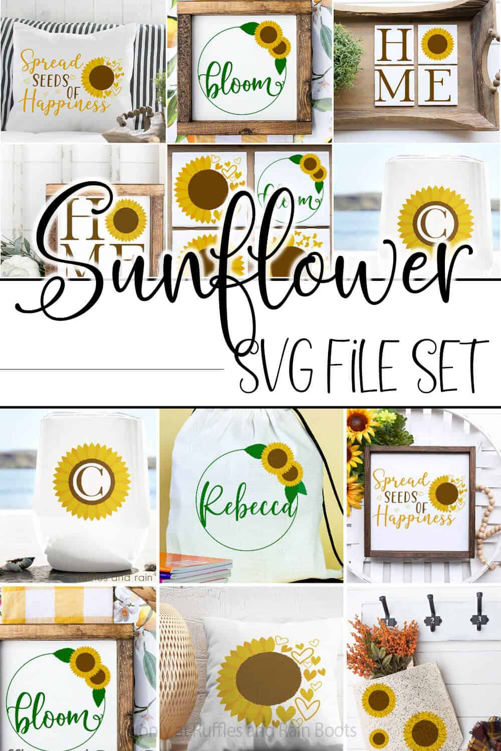photo collage of summer cut files for cricut or silhouette with text which reads sunflower svg file set