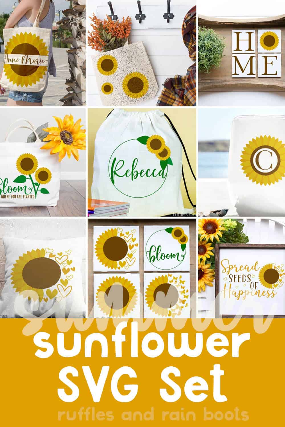 photo collage of summer sunflower cut files with text which reads summer sunflower svg set