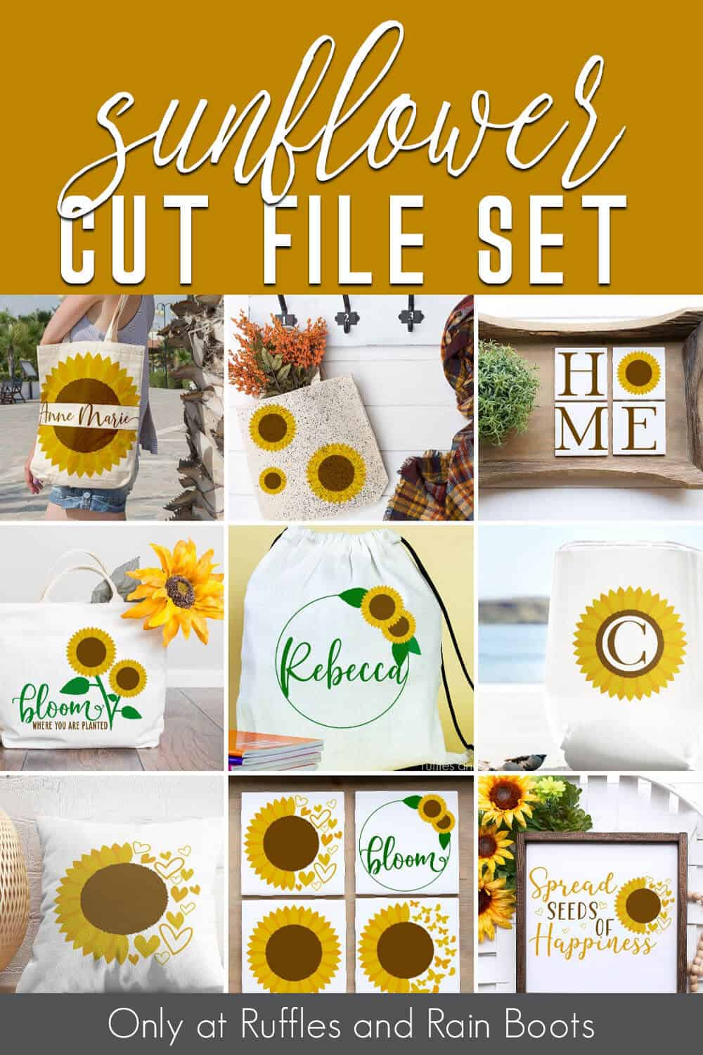 photo collage of summer svg set on various crafts with text which reads sunflower cut file set