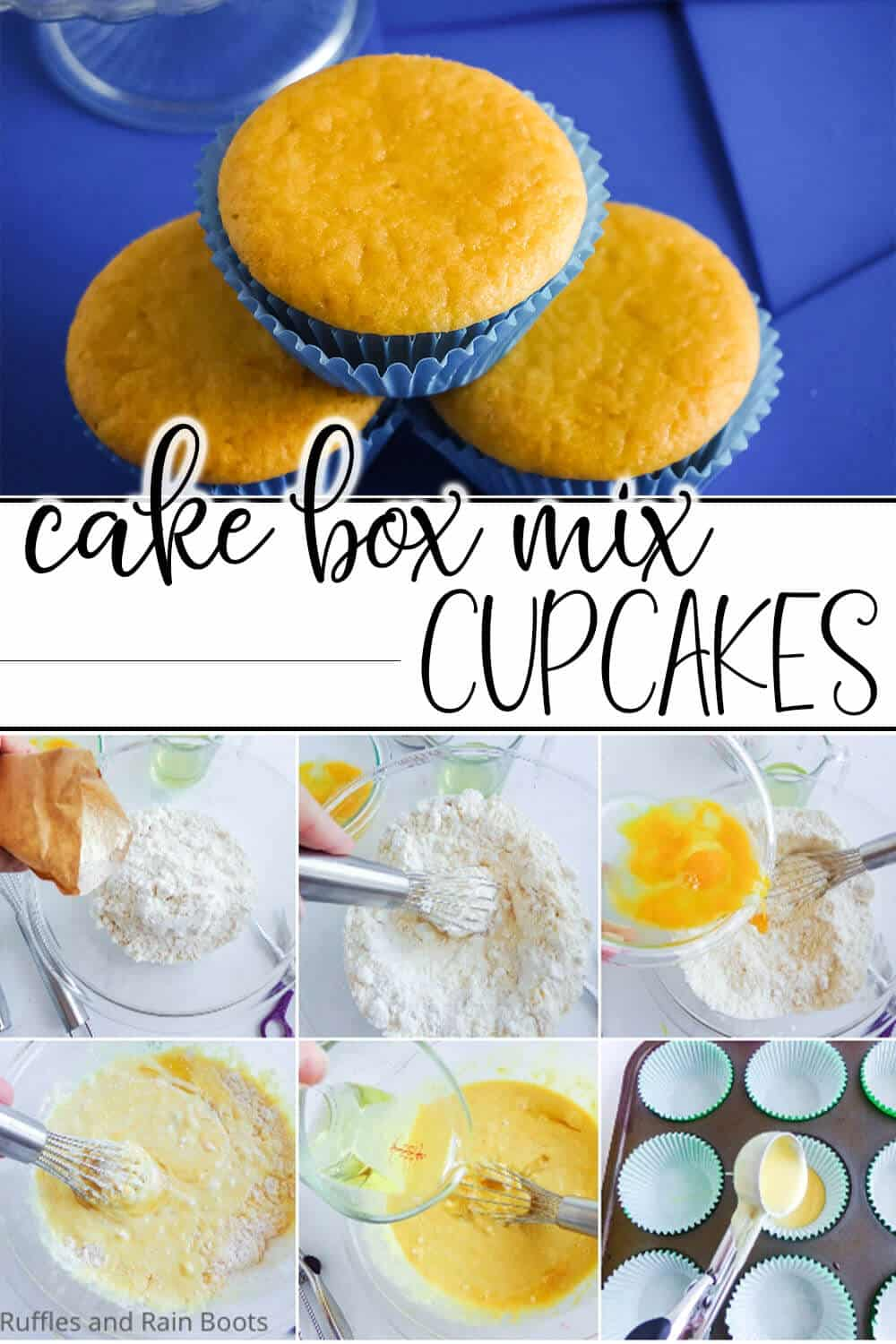 photo collage of cake box mix hack to make cupcakes with text which reads cake box mix cupcakes