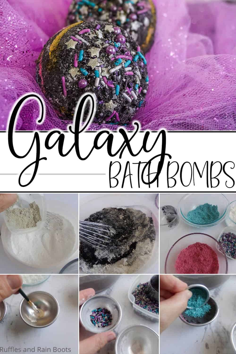 photo collage of easy bath bomb recipe with text which reads galaxy bath bombs