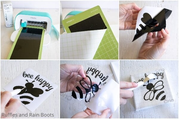 photo collage of how to make a bee mini canvas with the cricut joy