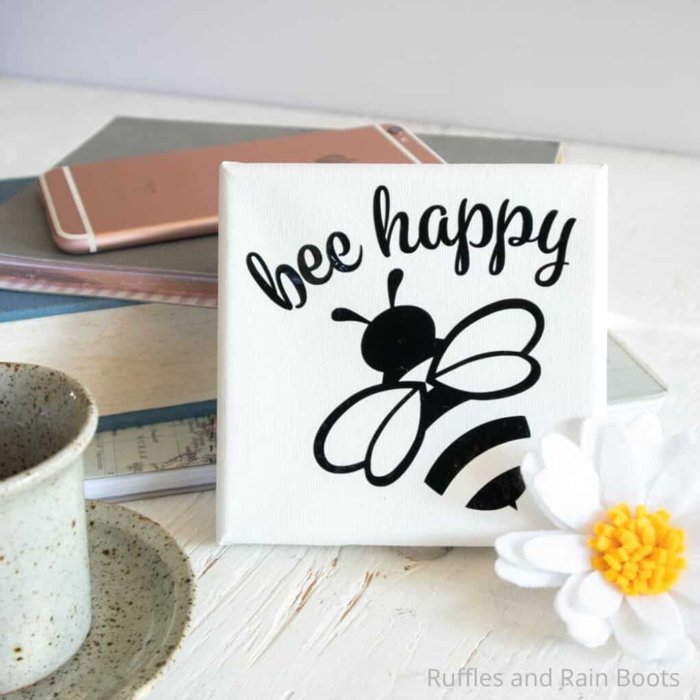 easy cricut joy project bee happy mini canvas