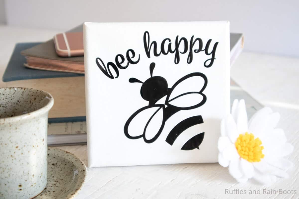 easy bee canvas art made with the cricut joy
