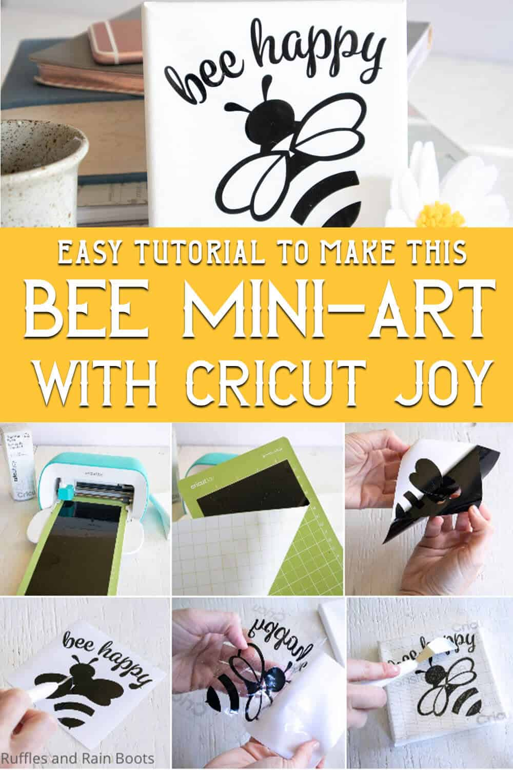 photo collage of easy cricut joy project with free bee svg with text which reads easy tutorial to make this bee mini-art with cricut joy
