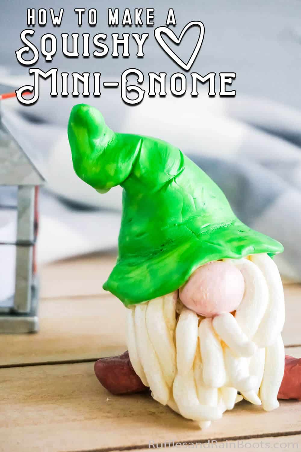 closeup of easy diy mini gnome with text which reads how to make a squishy mini-gnome