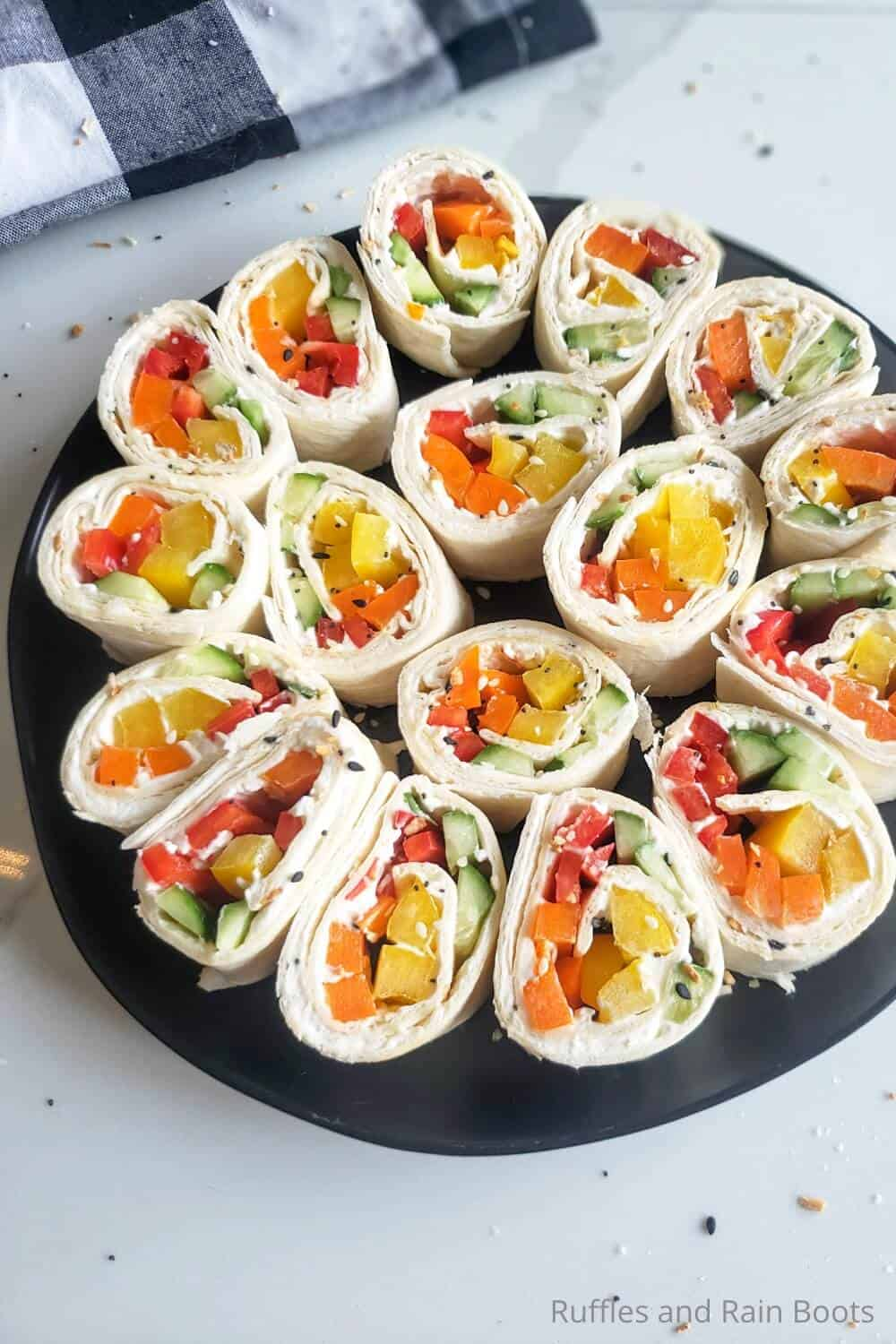 overhead view of easy veggie pinwheel sandwich lunch or appetizer recipe
