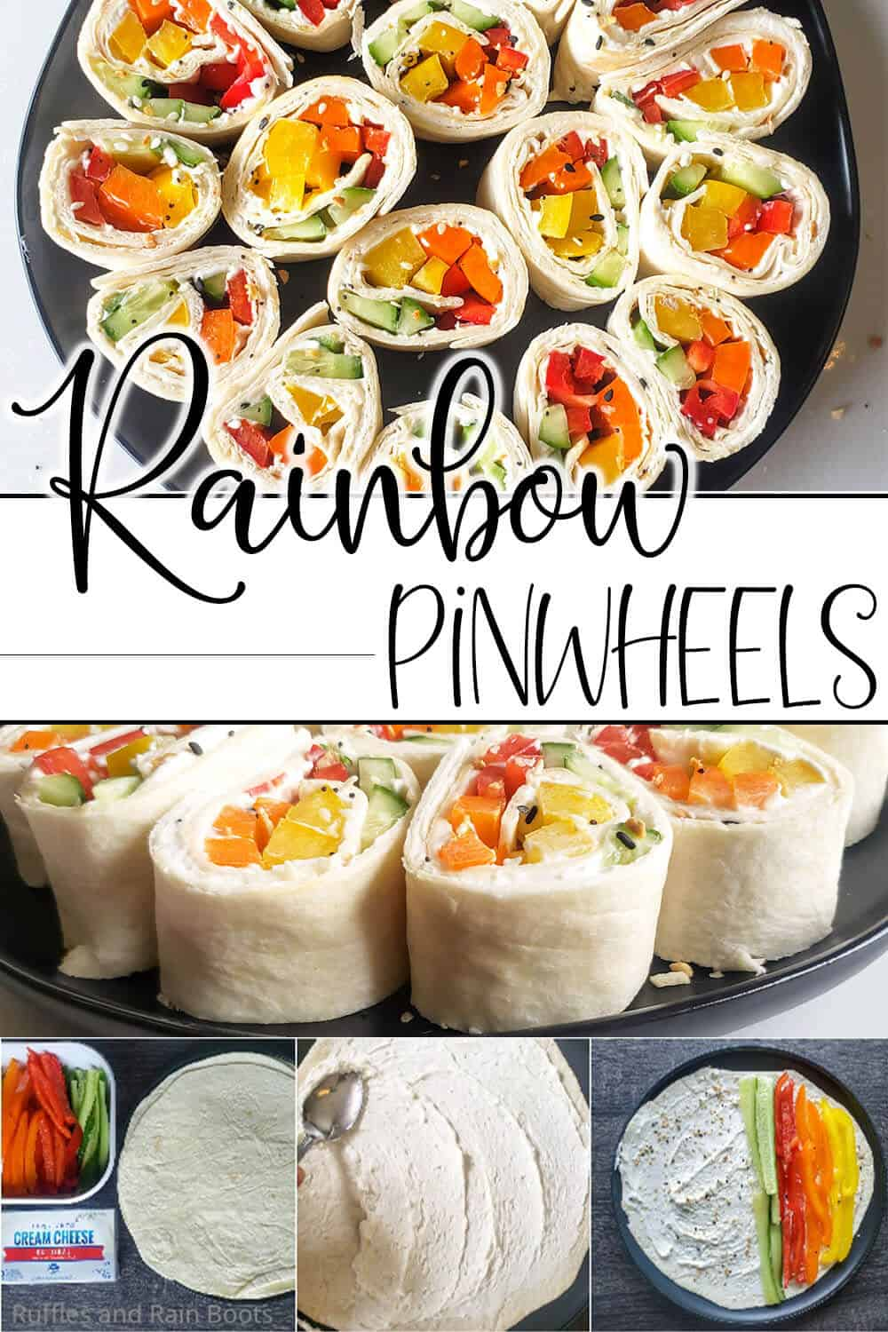 photo collage of easy pinwheel rollup sandwich for kids with text which reads rainbow pinwheels