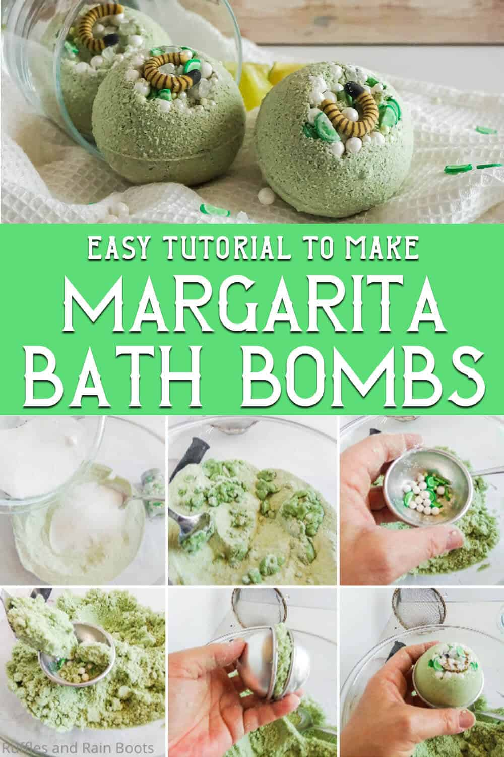 photo collage of easy bath bombs with margarita sprinkles with text which reads easy tutorial to make margarita bath bombs
