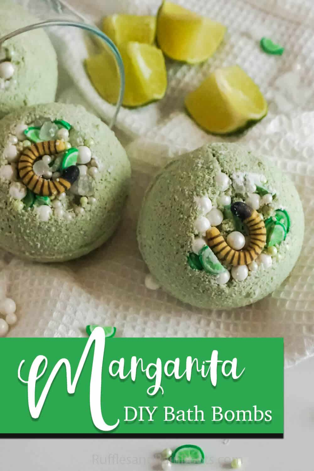 simple bath bomb recipe with sprinkles for a gift idea with text which reads margarita diy bath bombs
