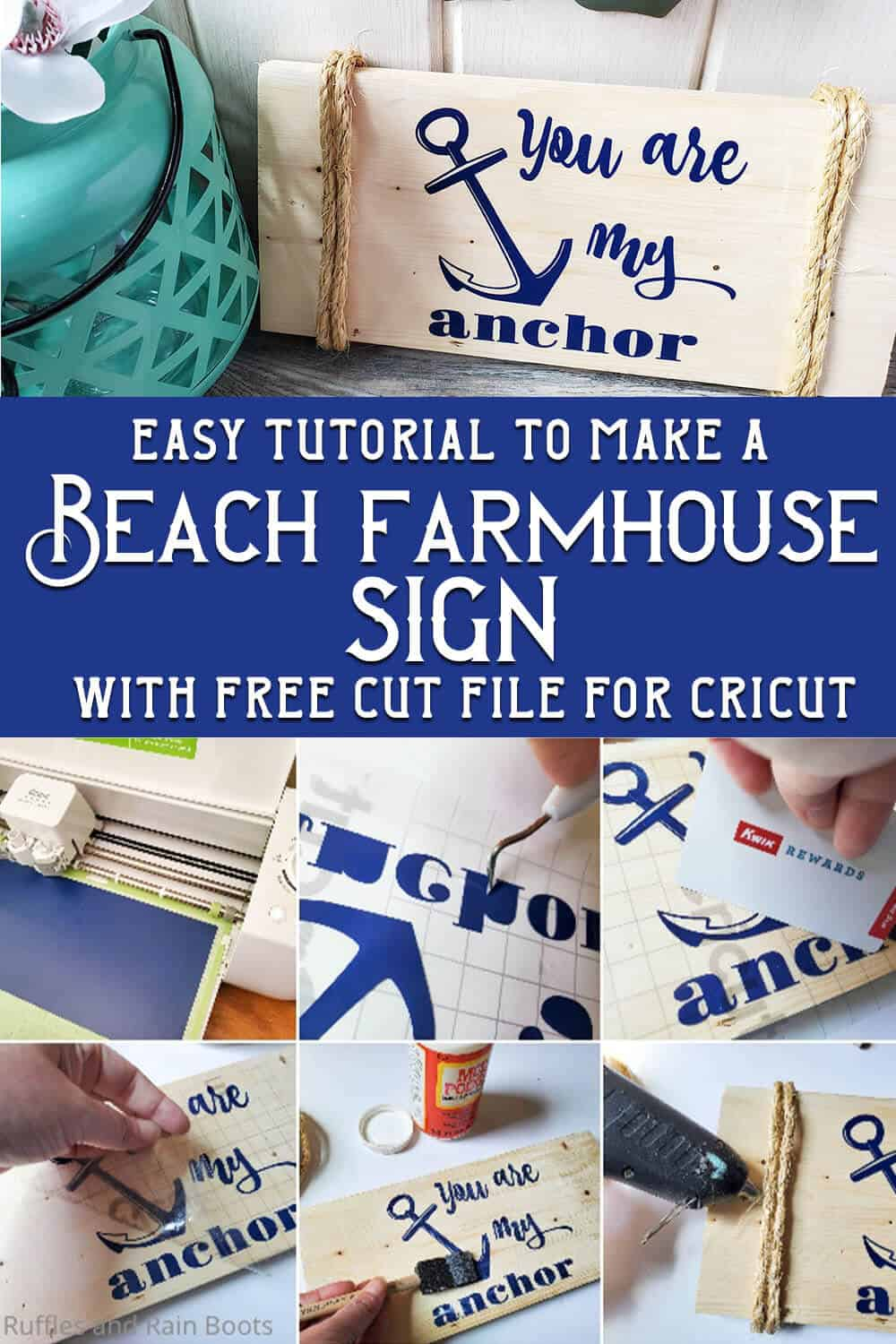 photo collage of easy beach farmhouse sign with text which reads easy tutorial to make a beach farmhouse sign with free cut file for cricut