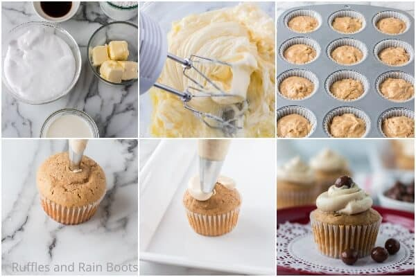 photo collage tutorial of how to make cappuccino cupcakes