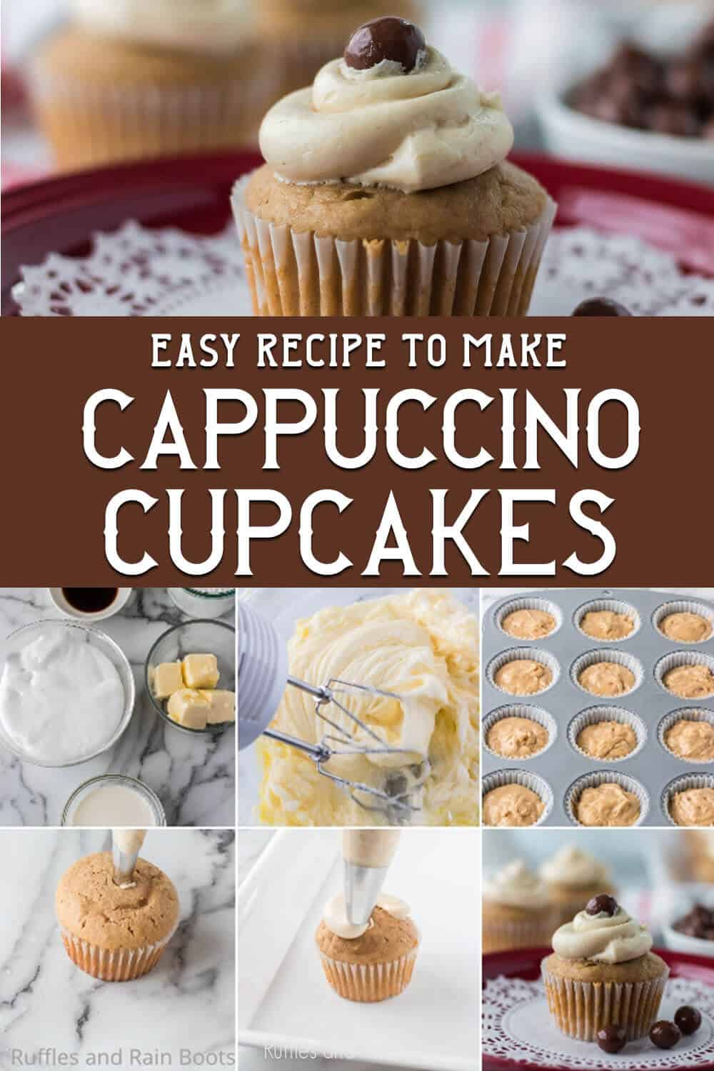 photo collage of easy coffee cupcake recipe with text which reads easy recipe to make cappuccino cupcakes