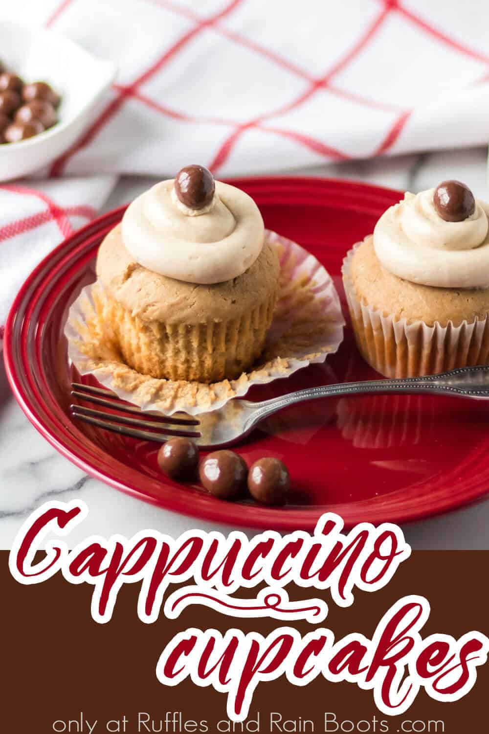 easy coffee cupcake recipe with text which reads cappuccino cupcakes