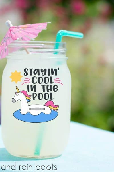 Unicorn SVG for Summer Stayin Cool in the Pool on a jar containing lemonade