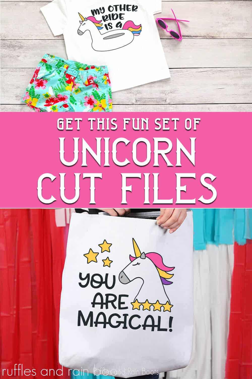 photo collage of Unicorn cut file bundle for Cricut or Silhouette with text which reads get this fun set of unicorn cut files