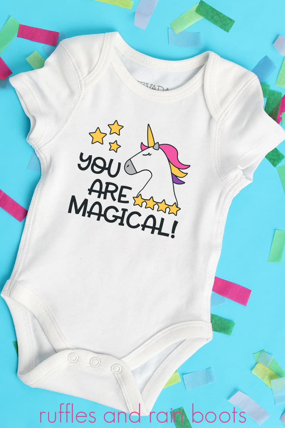 Adorable Unicorn SVG for Kids Baby Cut File Collection on a baby onesie