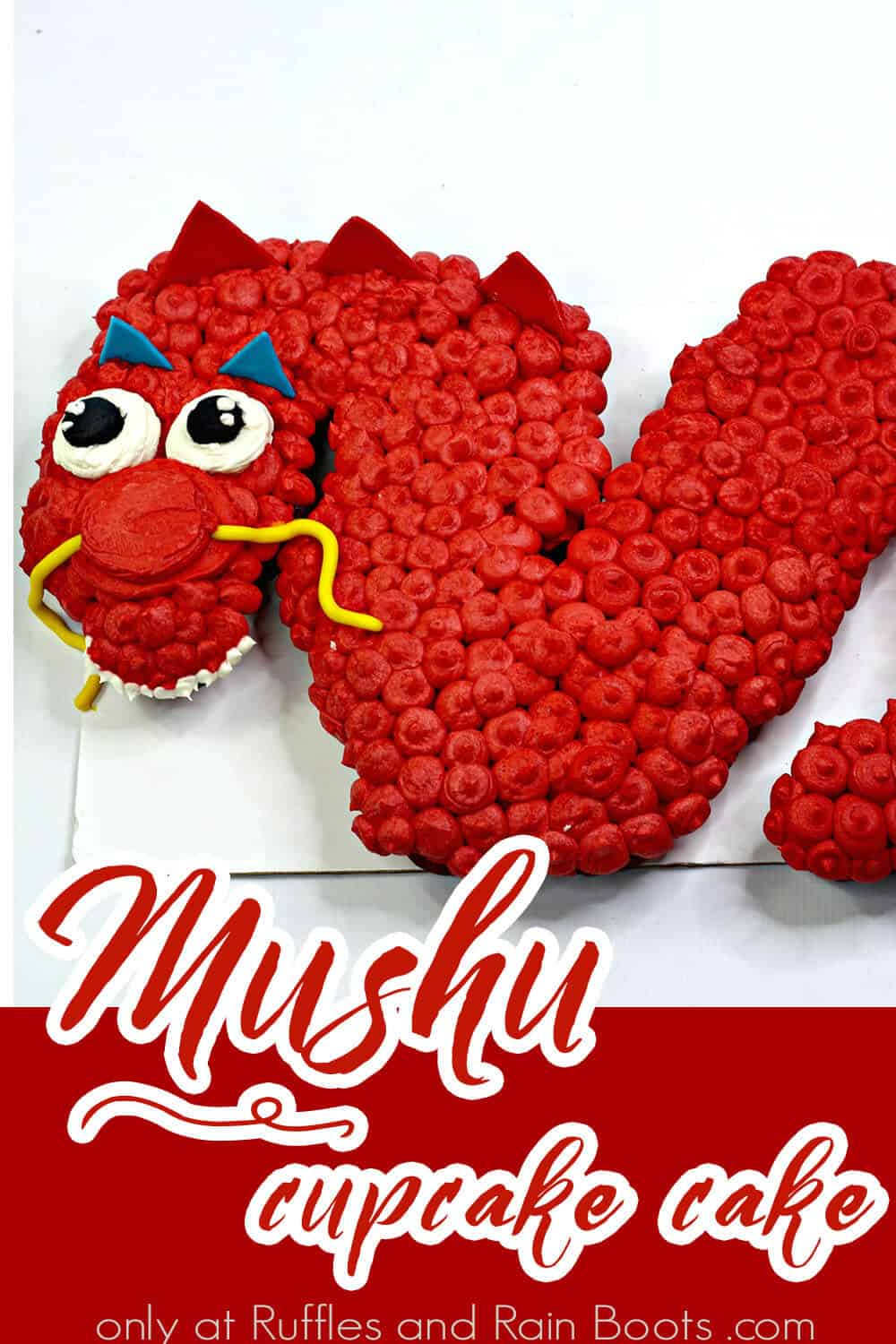 easy disney princess cupcake decorating idea mulan with text which reads mushu cupcake cake