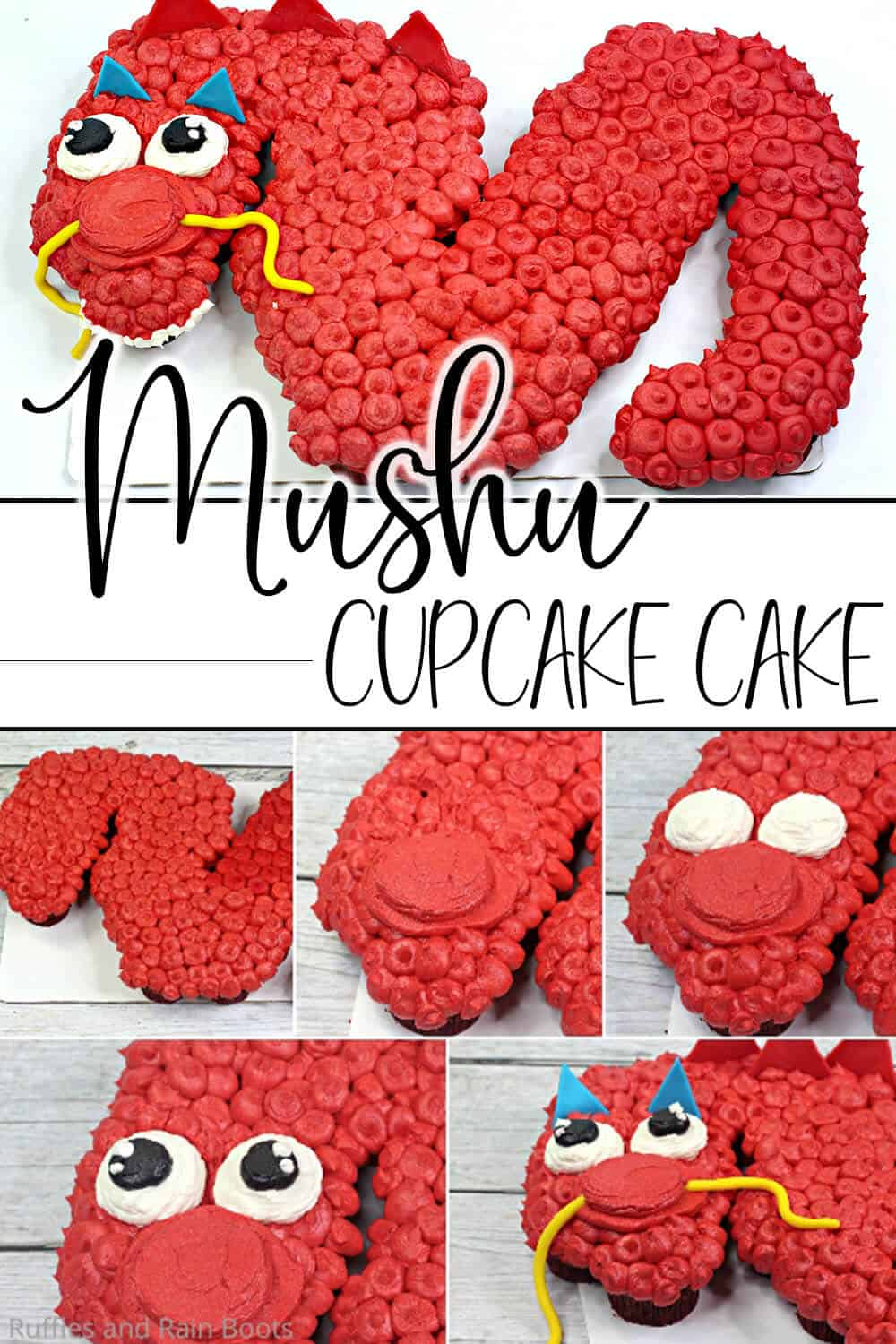 photo collage of easy cupcake cake decorating idea for dragon cupcake cake with text which reads mushu cupcake cake