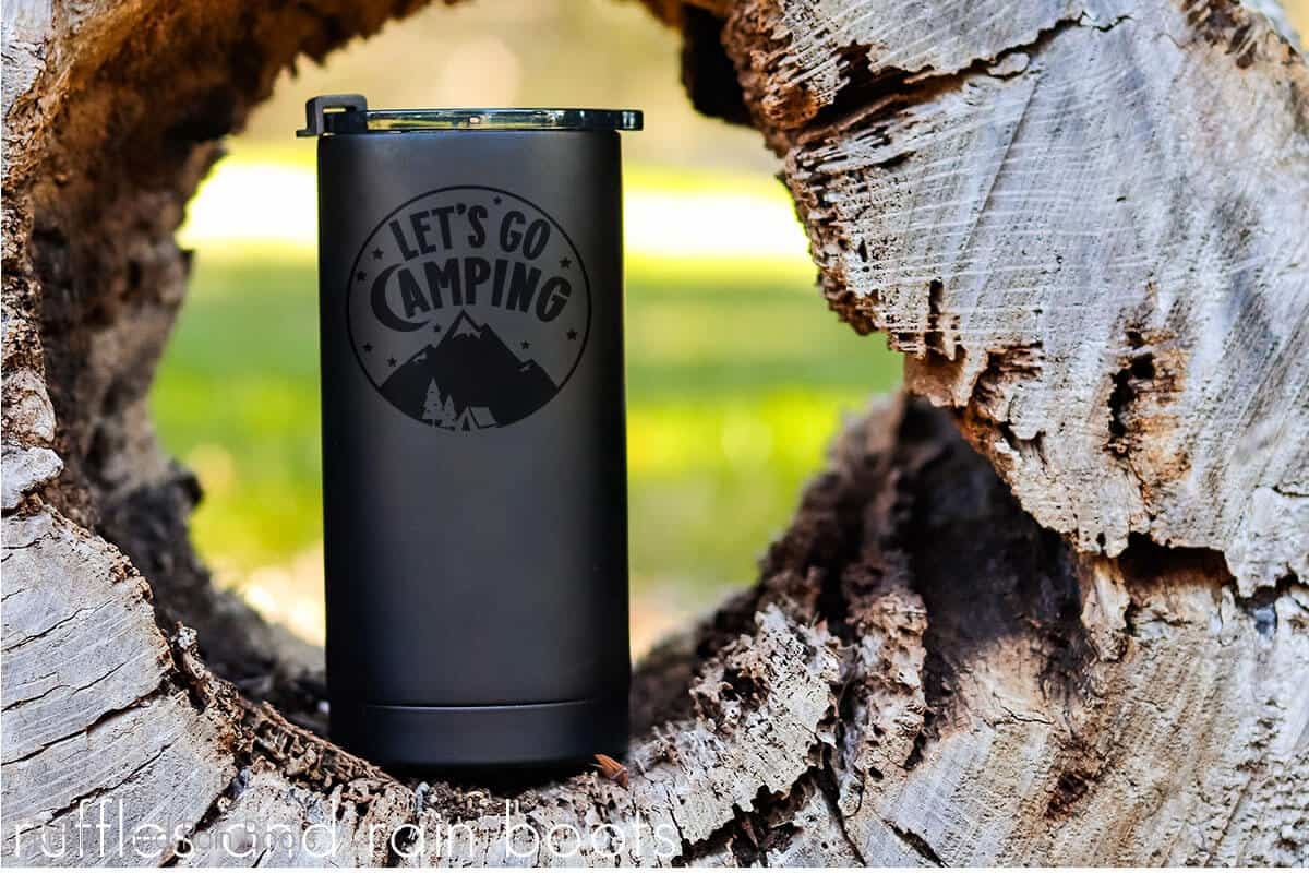 Let's Go Camping SVG on a silver tumbler