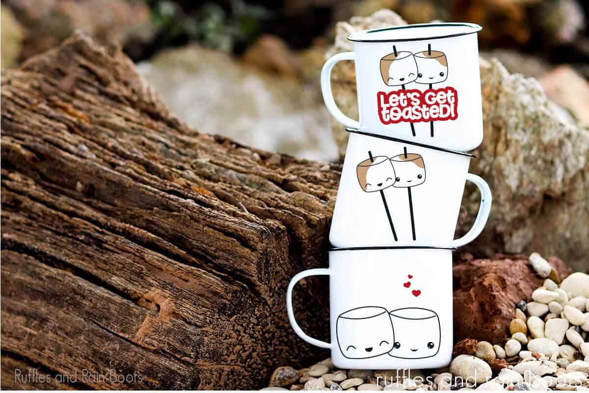 Kawaii S'mores Cut Files on stacked white campfire mugs