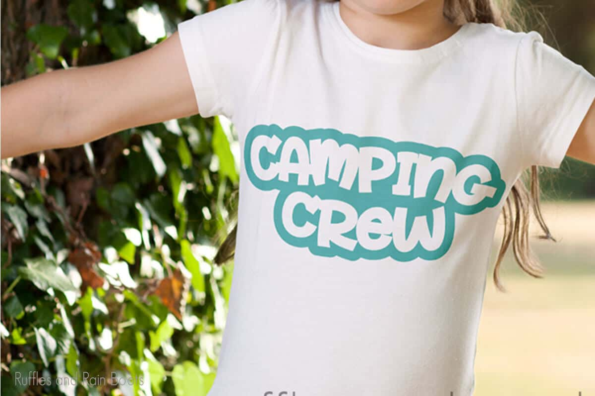 Camping Crew and Let's Go Camping SVG on a tshirt worn by a little girl